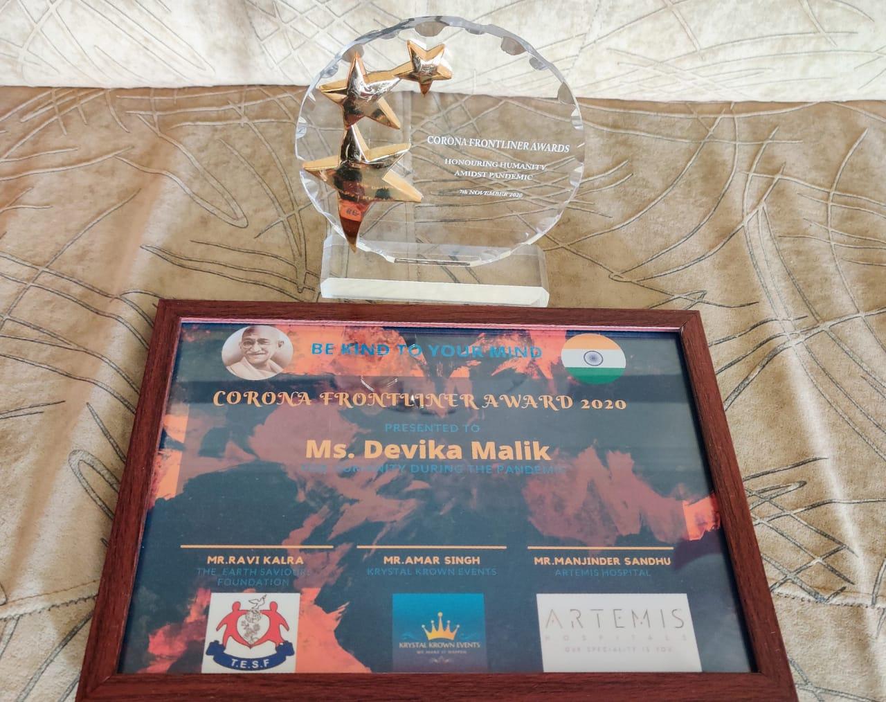Corona Front liners Award